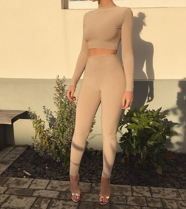 Our 'Kimi' crop top & 'Double Layered Leggings' in nude tan // www.boomboomthelabel.uk