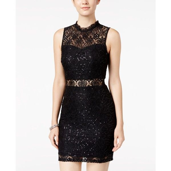 Speechless Juniors' Embellished Illusion-Lace Bodycon Dress ($69) ❤ liked on Polyvore featuring dresses, black, embellished bodycon dress, speechless dresses, lace body con dress, going out dresses and holiday party dresses