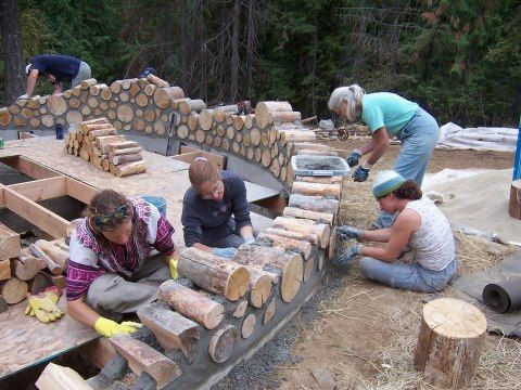 Log wall... love this idea!