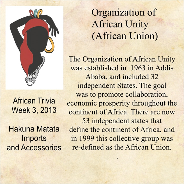 history and goals of the organization of african unity The organization of african unity and its role in regional conflict resolution and dispute  goals for the advancement of black people and the protection of native.