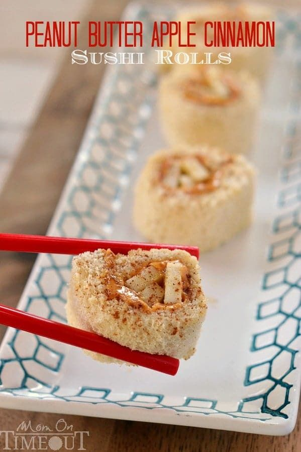Peanut Butter Apple Cinnamon Sushi Rolls are the perfect snack or lunch for kids!   MomOnTimeout.com   #snack #lunch #recipe #peanutbutter