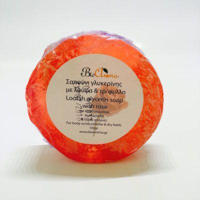 Loofah glycerine zeep met rozengeur. Loofah scrub zeep