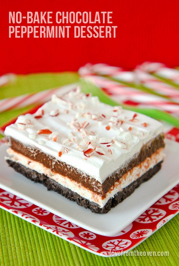 No Bake Chocolate Peppermint Dessert. Love this quick and easy recipe, it's SO delicious!  Perfect for Christmas.