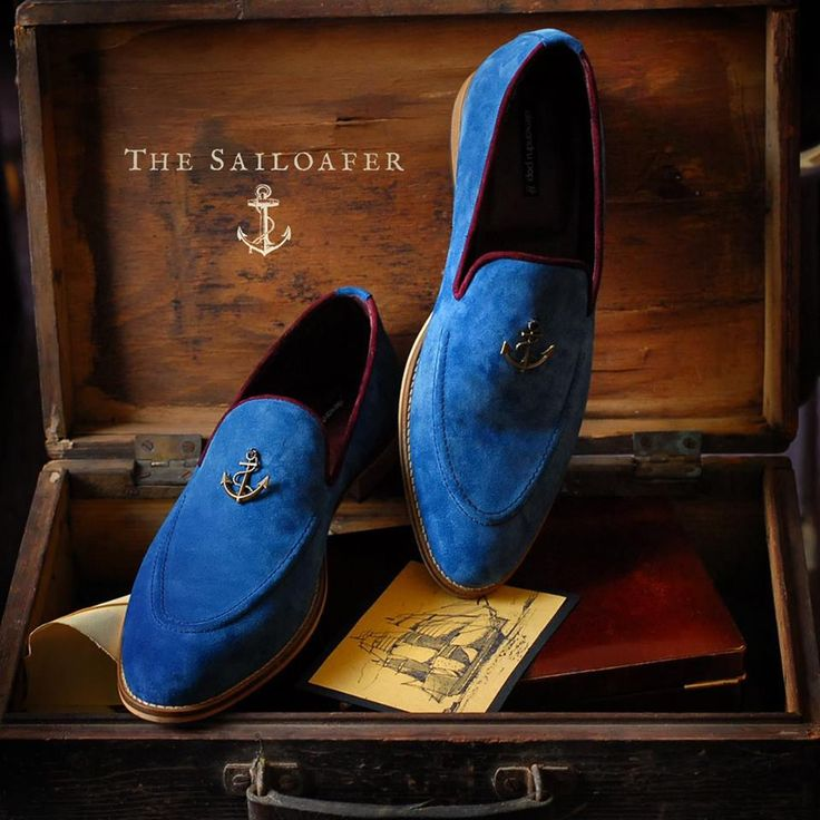 The Sailoafer - Premium Blue Suede Leather & Burgundy Lining by Alexandru Pop