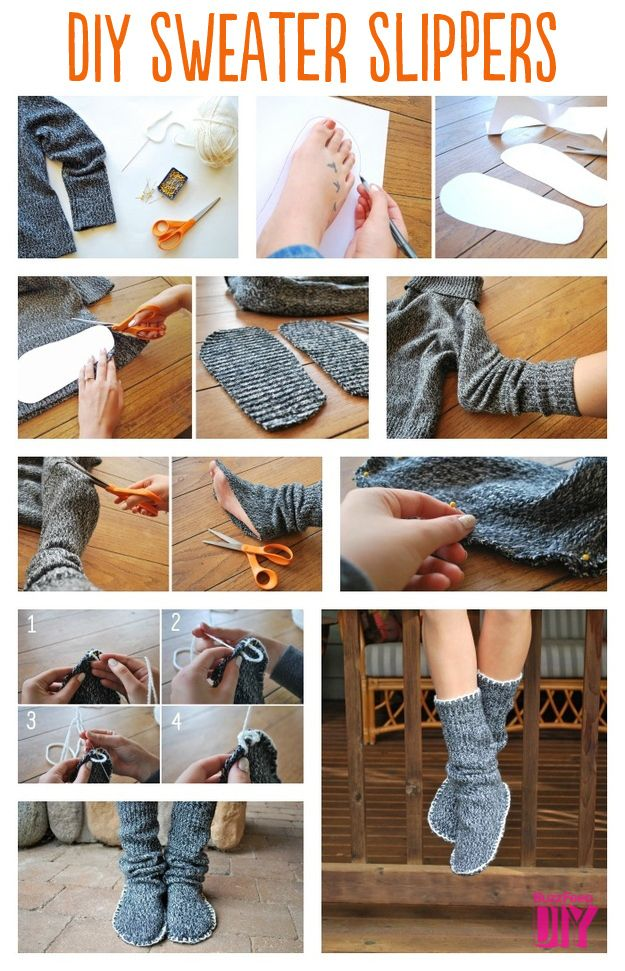 Sweater Slipper Boots | 10 Adorable DIY Slippers That Will Give You The Warm…