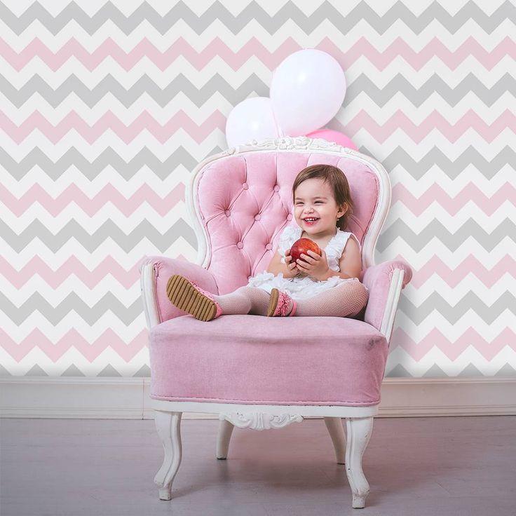 Papel de parede Chevron rosa, branco e cinza - PA7659