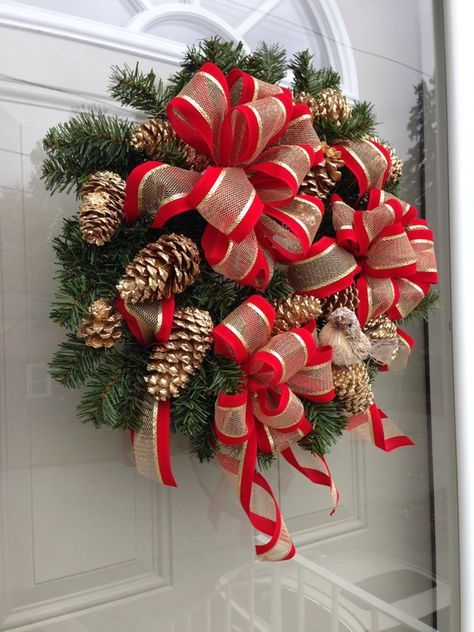 Traditional Christmas Wreath Gilded Pine Cones And Bird