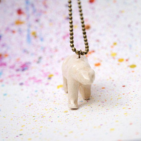 Polar Bear Pendant. White Porcelain Necklace.