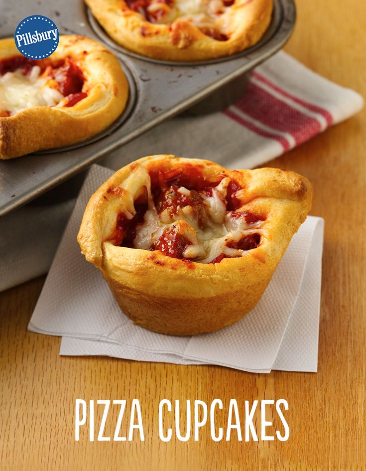 Pizza in a cupcake? We're in! Muffin tins make these Pizza Cupcakes so easy. TIP: If you can't find mini pepperoni slices, purchase larger ones, and cut them into fourths.
