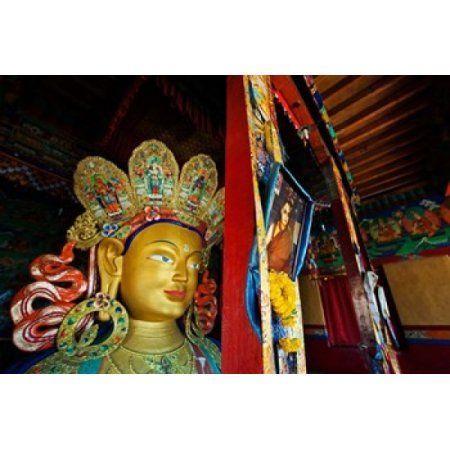 Dalai Lama Picture Beside Maitreya Buddha Thiksey Monastery Thiksey Ladakh India Canvas Art - Anthony Asael DanitaDelimont (29 x 19)