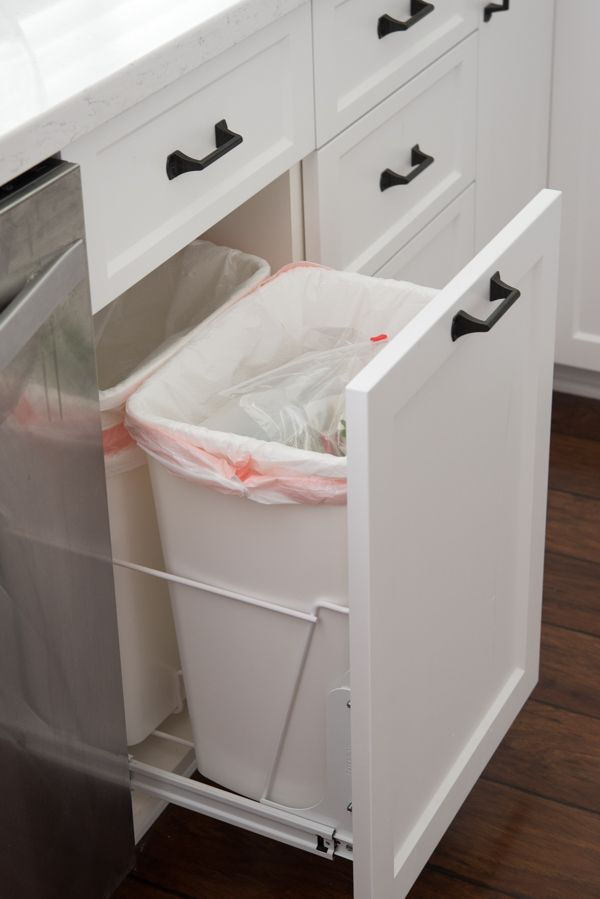 Crazy for Crust Kitchen Remodel - Pull out Trash Cabinet