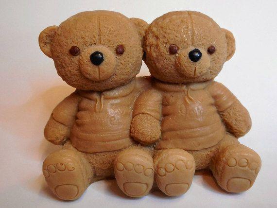 Teddy bear twins.  Soap bears.  Soap gift.  Children's