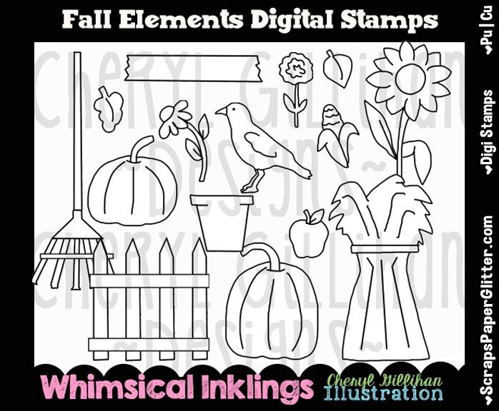 Fall Elements Digital Stamps, Black and White Image, Graphic, Commercial Use, Instant Download, Line Art, Pumpkin, Crow, Harvest, Sunflower by ResellerClipArt on Etsy