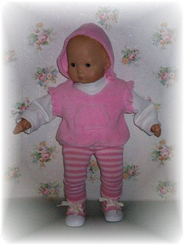 "Doll clothes. Super soft angel sleeve pullover, turtleneck and striped leggings for Bitty Baby and other 15"" dolls..."