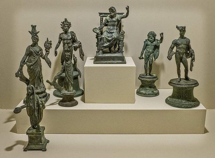 Statuettes from a Roman Lararium (household shrine) from Boscoreale, Italy 1st century CE | by mharrsch