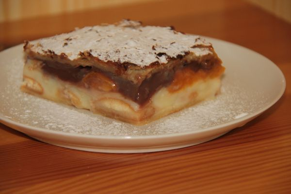 Pudingový koláč z lístkového cesta - Jednoduchý koláč, ktorý môže mať vždy inú príchuť. Stačí si vybrať puding.