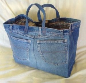 a bag made from old jeans and curtains