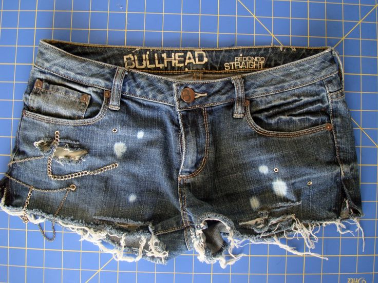 How to turn old jeans into destroyed denim shorts.