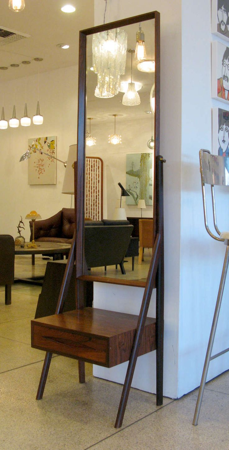 Rosewood Standing Mirror with Drawer | From a unique collection of antique and modern floor mirrors and full-length mirrors at http://www.1stdibs.com/furniture/mirrors/floor-mirrors-full-length-mirrors/