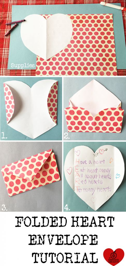 Create an acrostic poem with this folded heart shape envelope tutorial!