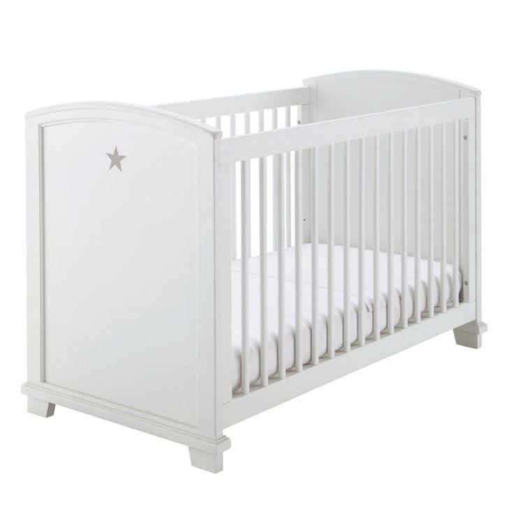 Lit bébé à barreaux blanc motif étoile Pastel