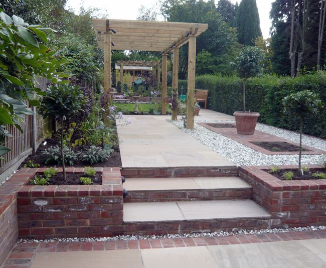 I like the pergola with climbers, and the height of the steps and raised beds give some interest and zone the areas. Not enough grass though.