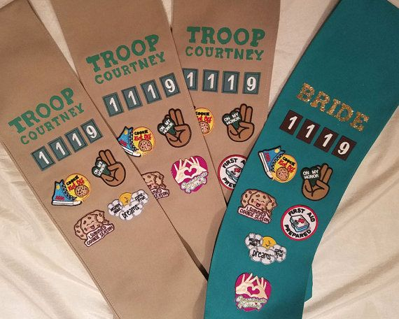 Beverly Hills what a Thrill! This custom sashes are a the perfect item for bachelorette parties, for a bridal party at a themed shower, or a Birthday Girl!    WHAT YOU RECEIVE:  Sash with Custom Troop Name, Custom Troop Number (wedding date), 4 patches, 1 girl scout pin to fasten sash. Glitter Name with Green Sash and Extra patch.  Sized for Adults in Brown and Only available in Womens Small and Medium in Green. ----------------------------------------- HOW TO ORDER:  1. Add this design to…