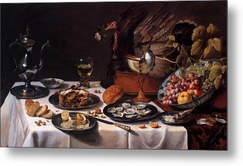 6d311ab124 Still Life With A Turkey Pie 1627 Metal Print by Claesz Pieter in 2019