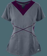 Grey's+Anatomy+Scrubs+Modern+Color+Block+Notch+Neck+Top