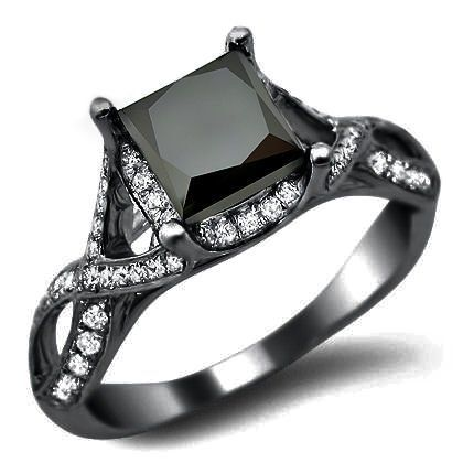 Black Diamond Wedding Rings For Women | Black Princess Cut Diamond Engagement Ring - Unusual Engagement Rings ...