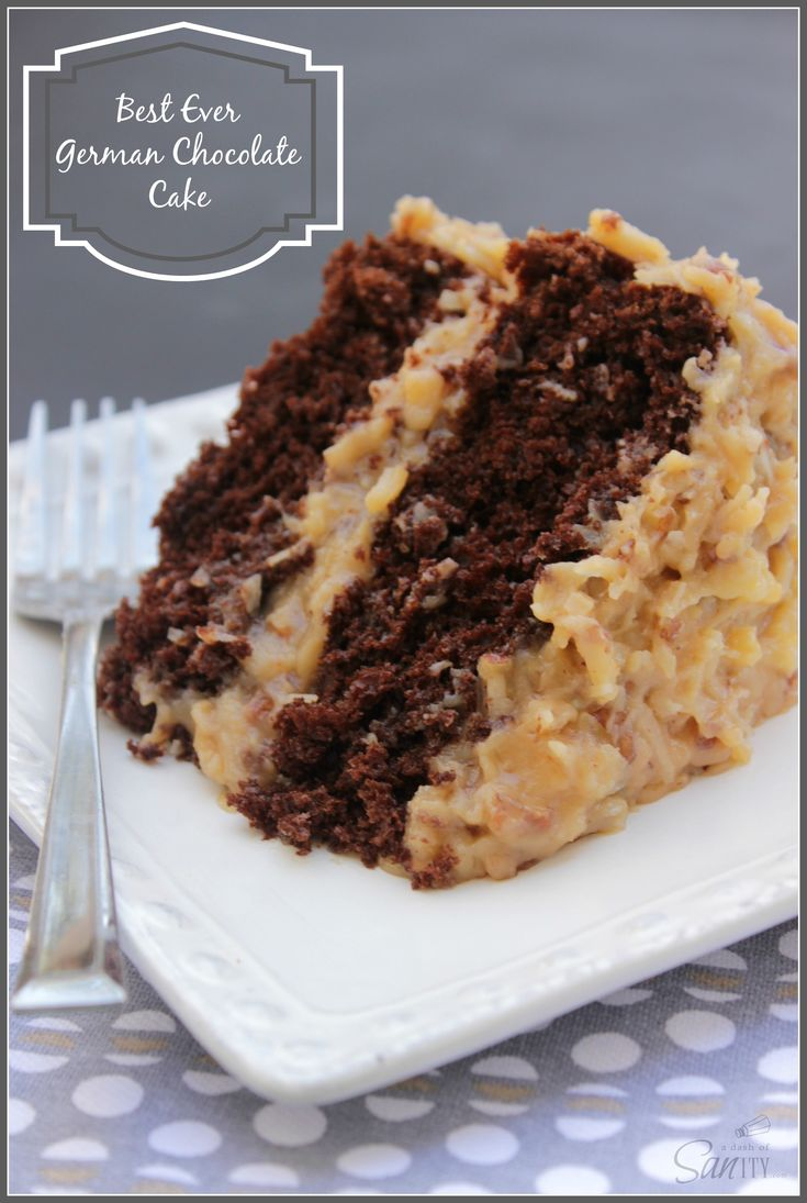 "Best-Ever German Chocolate Cake recipe. ""Rich, moist chocolate cake with smooth and creamy caramel like pecan and coconut frosting. Grandpa's review: ""This is the best damn cake I have ever had!"""