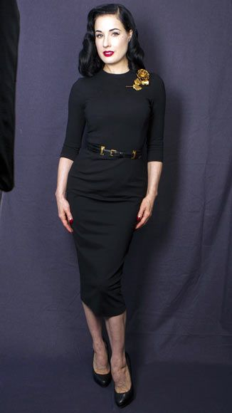 Black and red form fitting dress