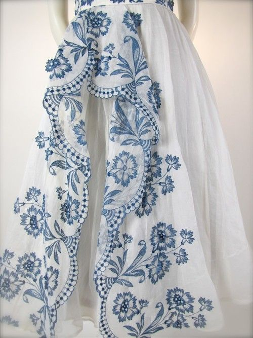 Repinned from Jaque Reid | Originally from Rose-style.tumblr.com | Spring/Summer 2012-13 | Style | Cut | Colors- White with Detailed Blue-stitch Design | Country Chic