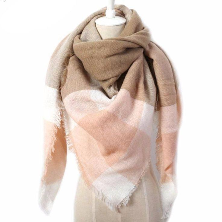 Designer Cashmere Triangle Warm Plaid Blanket Scarf