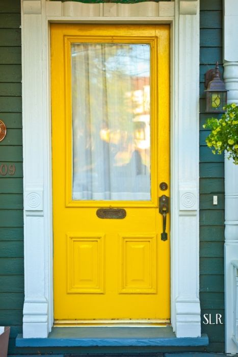 "My favorite color is yellow. So naturally my front door will be yellow. Love, love,love these colors together :) nothing like a front door that says ""COME ON IN!"""