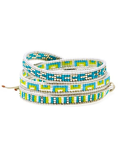 Chan Luu Leather Beaded Triple Wrap Bracelet