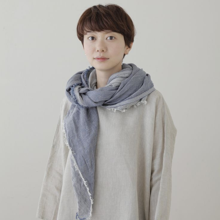 Image of Tuz Fringe Scarf: Blue Chambray