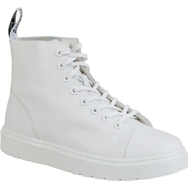 Dr. Martens Talib Women's Combat Boot ($125) ❤ liked on Polyvore featuring shoes, boots, white, dr martens boots, white leather shoes, military boots, leather military boots and leather shoes
