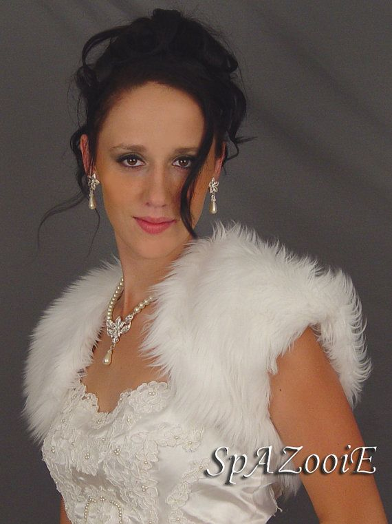 White feather faux fur bolero jacket wedding by SpAZooiEBridal, $54.50