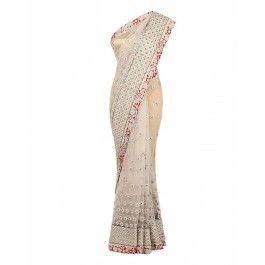 Golden Sari with Thread Work