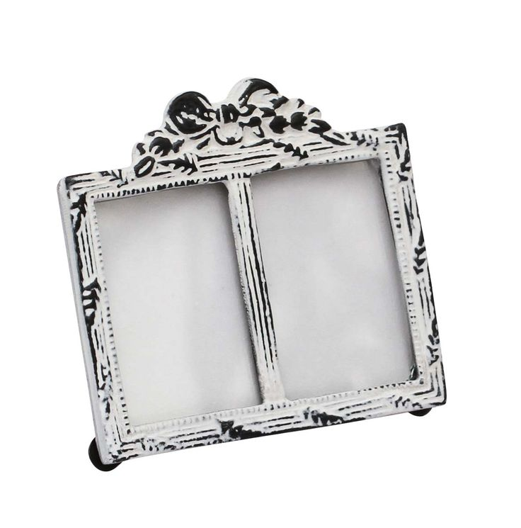 Bulk Wholesale Handmade Double Photo Frame / Picture Stand in Metal Work Decorated with a Bow Design on the Top in White Color with Distressed-Look – Table / Wall Décor – Rustic-Look Home Décor