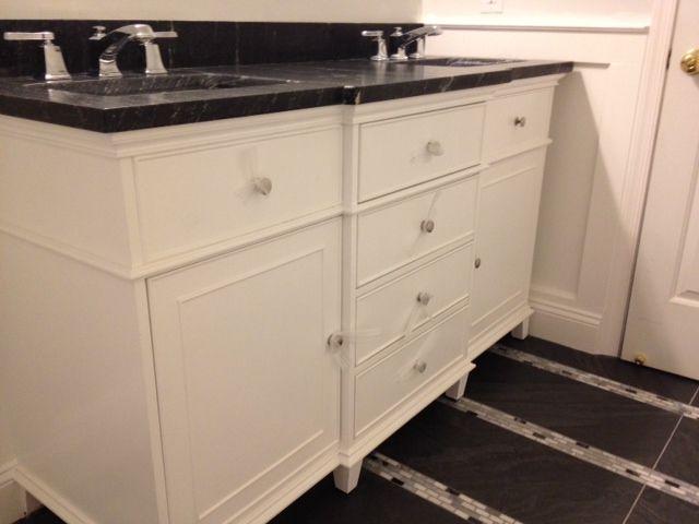 White 60 Double Sink Vanity With Milky Way Granite Top Rectangular Und
