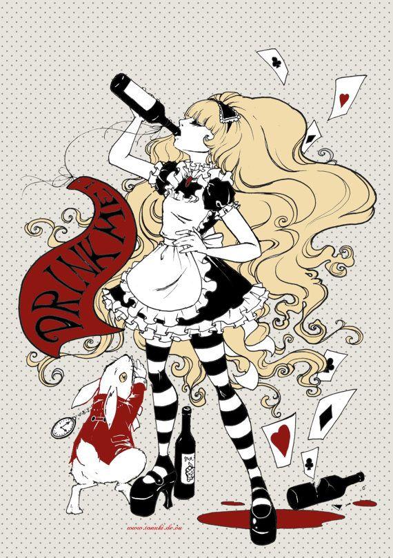 Poster Drinke me Alice in Wonderland by BlackUnicornShop on Etsy, €9.00