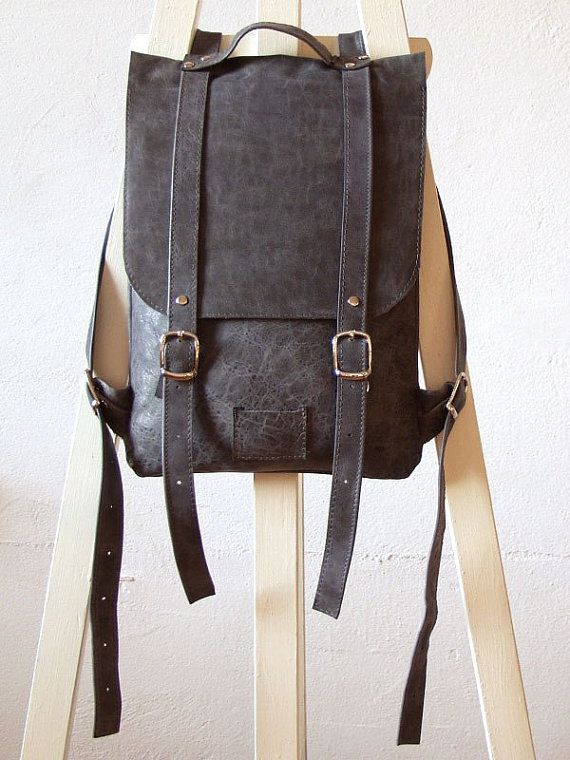 Dove gray leather backpack rucksack / To order by kokosina on Etsy, $119.00