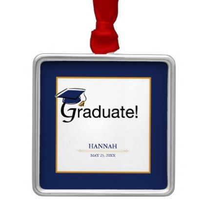 Congratulations Graduate Hat Tassel Blue Gold Metal Ornament - unusual diy cyo customize special gift