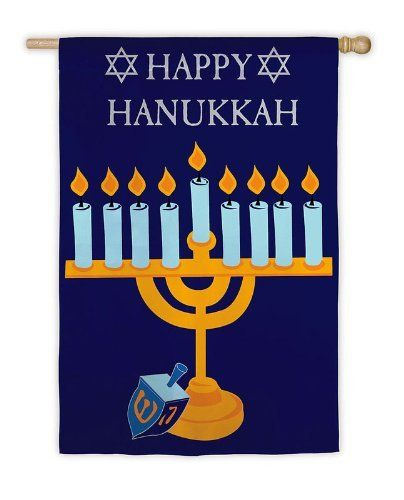 "Garden Sized Applique Flag: Happy Hanukkah by Evergreen. Save 68 Off!. $5.99. Shimmer Accents. 12.5"" x 18"". Great for yourself or as a gift. Applique Flag. A flag is the greeting card of your home. The menorah is lit, and the dreidel is ready for spinning. This is a flag of Hanukkah celebration. As it declares ""Happy Hanukkah"" between two stars of David, it celebrates the reason for the season with every wave in the wind. Share the joy of the holiday with friends and neighbors who stop by…"