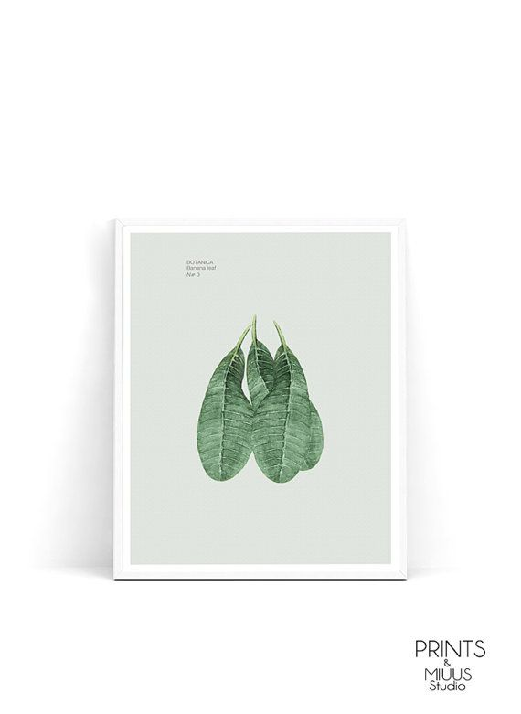 Banana leaf palm print tropical art palm leaf by PrintsMiuusStudio