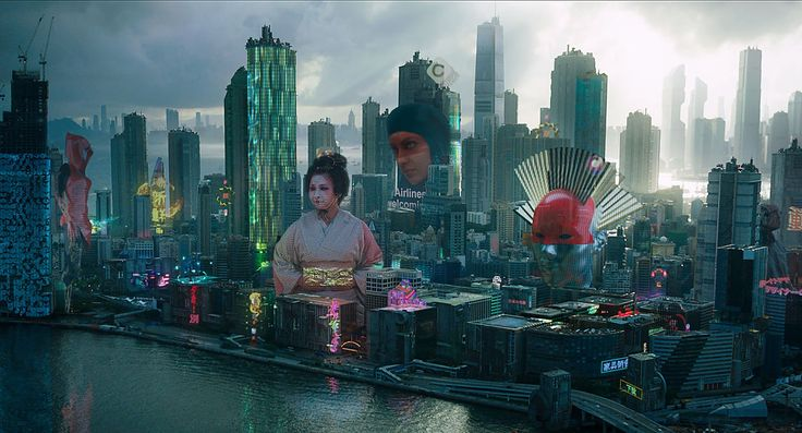 Territory explain how it created hundreds of 3D floating elements in the Japanese city of Niihama for the film, including hologlobes, 3D advertising and hologram conferences.
