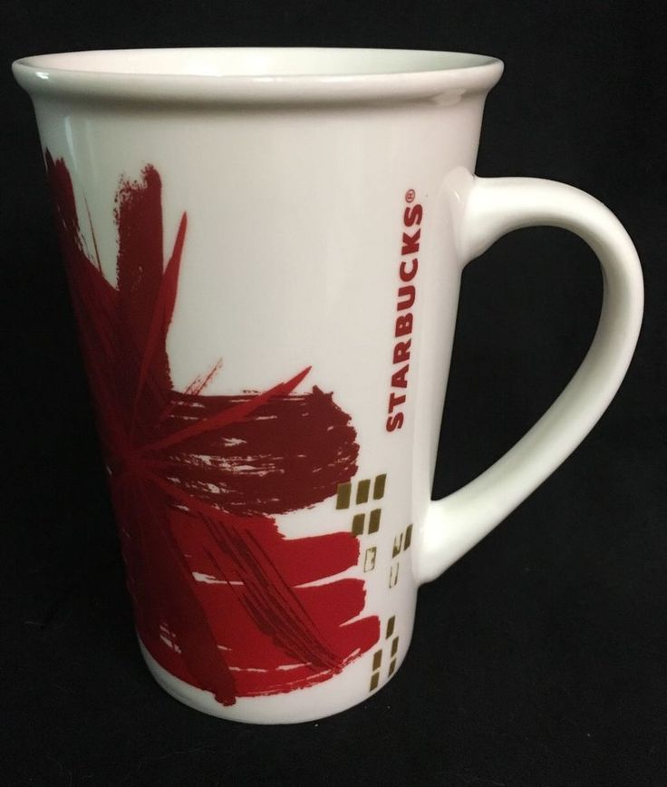 Starbucks 2014 Holiday Mug white red burst gold 12 ounces #Starbucks