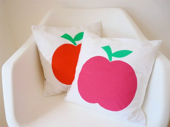 Scandi style screen printed retro modern apple cushion pillow cover by Jane Foster. $26.00, via Etsy.